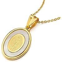 Oro Miracolosa Medaglia Vingin Mary Maria, Collana con Pendente da Donna, Acciaio Inossidabile con Madreperla