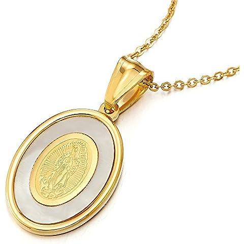 Oro Medalla Milagrosa Virgen María Marry, Collar con Colgante de Mujer, Acero Inoxidable con