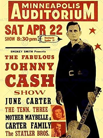 MUSIC CONCERT ADVERT JOHNNY CASH CARTER MAN BLACK FINE ART PRINT POSTER 30X40 CM 12X16 IN BB6771B