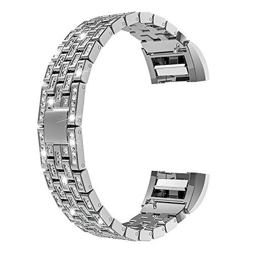 Patifia Edelstahl Uhrenarmband, Klassiker Luxus Kristall Strap Band für Edelstahl Metall Strasssteinen Armband Einstellbar Ersatzband Armband Strap für Fitbit Versa (Für Handgelenke 6 bis 8 ()