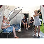 Skandika Camper Tramp Free-Standing Minivan Awning Tent with 2-Berth Sleeping Cabin and 210 cm Peak Height, Sand/Red, 2 Persons 15
