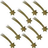 Set Stern + Schweif 10 Stück Sterne Aufkleber die cut Tattoo Wandtattoo Winter Auto Fenster Deko Folie Weihnachten Weihnachtsstern (gold)