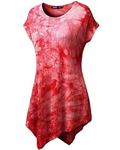 Moollyfox Casuel Manches Courtes Femmes T-Shirt Imprimé Rouge