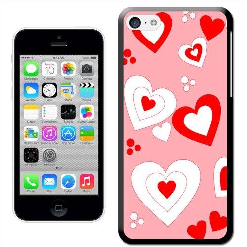 Fancy A Snuggle 'verriegelt Herzen auf grauen Hintergrund' Hard Case Clip On Back Cover für Apple iPhone 5C Floating Red & White Hearts