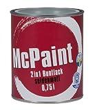 McPaint 2in1 Buntlack Grundierung und Lack in einem für Innen und Außen. PU verstärkt - speziell für Möbel und Kinderspielzeug seidenmatt Farbton: RAL 7001 Silbergrau 0,75 Liter - Andere Farben verfügbar