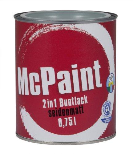 McPaint 2in1 Buntlack Grundierung und Lack in einem für Innen und Außen. PU verstärkt - speziell für Möbel und Kinderspielzeug seidenmatt Farbton: RAL 7001 Silbergrau 0,75 Liter