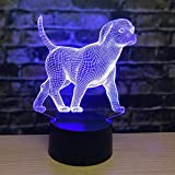 Luz De Noche 3D Luz Led Zodiaco Rata Toro Tigre Conejo Dragón Serpiente Luz De Ilusión Regalo De Cumpleaños Creativo Lámpara De Mesa Pequeña Creativa Luz De Cabecera-Perro