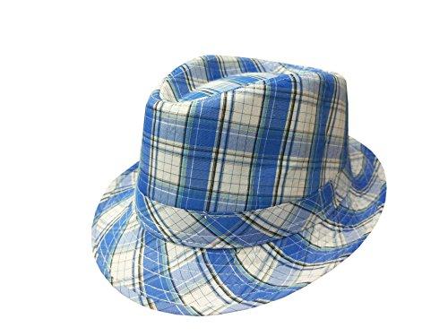 ACVIP Kinder Jungen Plaid Baumwolle Fedora Hut Panamahut Sonnenhut(Blau) -