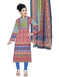 BalajiWomen's Cotton Unstitched dress material(1001-multicolor-free size)