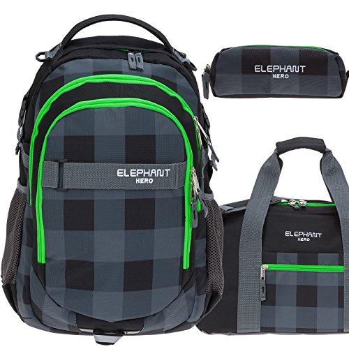 3 Teile Set ELEPHANT Schulrucksack HERO SIGNATURE Rucksack + Sporttasche + Mäppchen (Plaid Green (12609 Schwarz GRÜN) (Plaid Laptop-rucksäcke)
