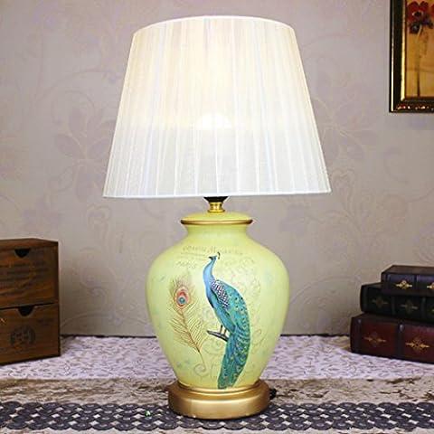 New day®-lumières céramique maison de lampe de bureau européenne cadeau de mariage lieu de mariage décoration de chambre à coucher la tête d'un lit de 50 * 20 * 30 cm
