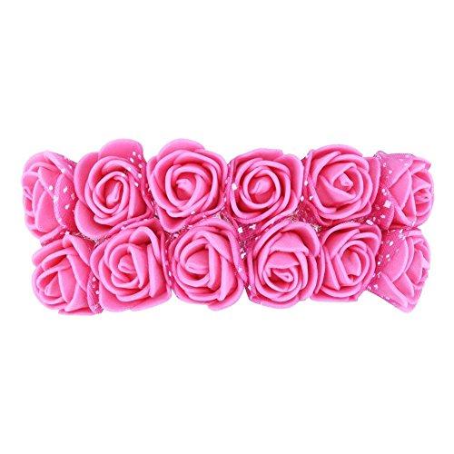 Ueb 12pcs teste di rose in schiuma rose finte per decorazioni fiori artificiali decorazione per matrimonio festa auto casa diy ghirlanda di fiori da sposa (rosa rossa)