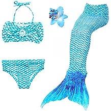 Traje de baño de la cola de la sirena de las muchachas 3PCS Princesa traje de baño Bikini Set puede agregar Monofin