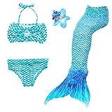 3 Pièces Maillot de Bain Princesse Queue de Sirène Mermaid Bikini(Il y a la Boucle au Bas de la Queue,Pouvez Ouvrir pour Marcher ou Fermer pour Ajouter Monopalme) (110(2-3 Ans), Bleu)