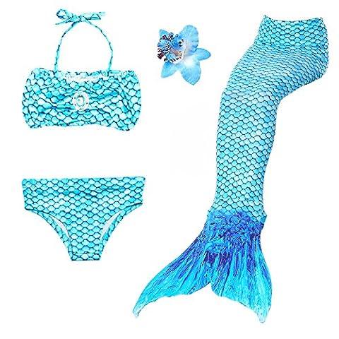 3 Pièces Maillot de Bain Princesse Queue de Sirène Mermaid Bikini(Il y a la boucle au bas de la queue,pouvez ouvrir pour marcher ou fermer pour ajouter monopalme) (130(6-7Ans), Bleu)