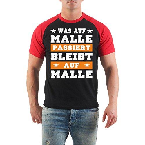 Männer und Herren T-Shirt Was auf MALLE passiert BLEIBT AUF MALLE 2017 Schwarz/Rot