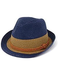 HYXUM Summer Cappello in Paglia per Donna Uomo Bambino Cappelli Jazz in  Stile Fedora e borsal 6d51f536e9cd