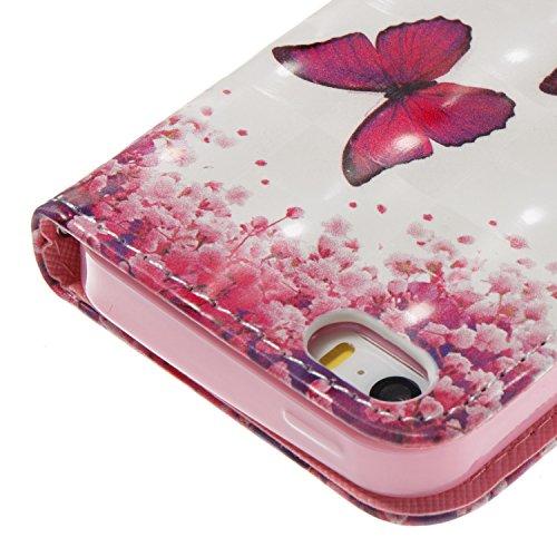 Flip Wallet Custodia Portafoglio per iPhone 5,SKYXD 3D Effetto Cover a Libro in Pelle Case con Porta Carte Funzione Appoggio per iPhone SE / iPhone 5 / iPhone 5S,Farfalla rossa Farfalla rossa
