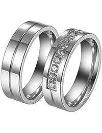 JewelryWe Par de Anillos de Alianzas Acero Inoxidable de Parejas, Anillos de compromiso Sencillos Diseño Plateado Con Circonitas, Retro Vintage para San Valentín