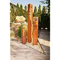SSITG Säulen Set Modern Edelrost Mit Edelstahl   Kugeln Rost Garten  Dekoration Stele