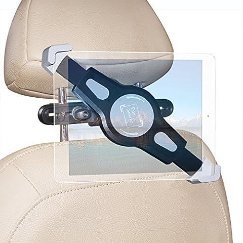 megadream rotatif 360° réglable Voyage Voiture Siège arrière Pince, en plastique ABS Durable Support de voiture support pour tablette, profitez de voyage avec surf Regarder un film Gaming Noir