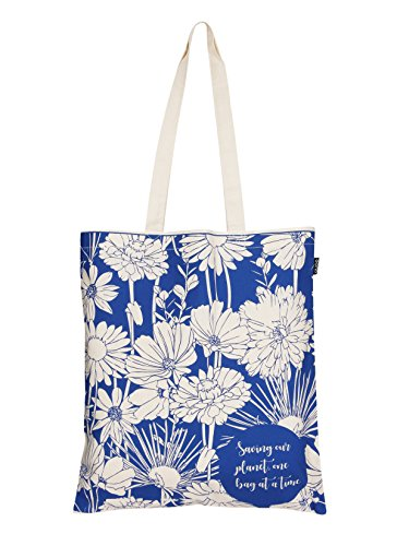 Flower Essential Tote Bag (Eono Essentials Tragetasche, 100% Baumwolle, wiederverwendbar, umweltfreundlich, Aufdruck