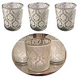LS Design 3x Windlicht Glas Kugel Teelichthalter Kerzenständer Kerzenhalter Shabby Ornament