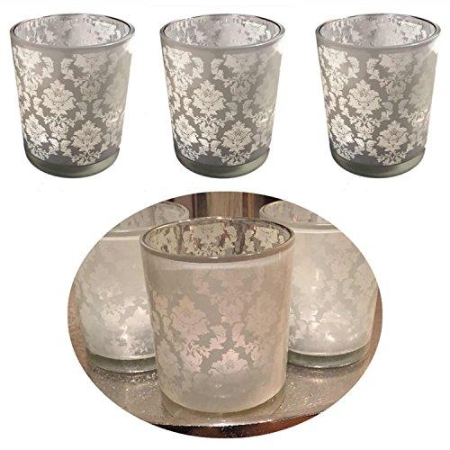 LS-LebenStil 3x Windlicht Glas Kugel Teelichthalter Kerzenständer Kerzenhalter Shabby Ornament