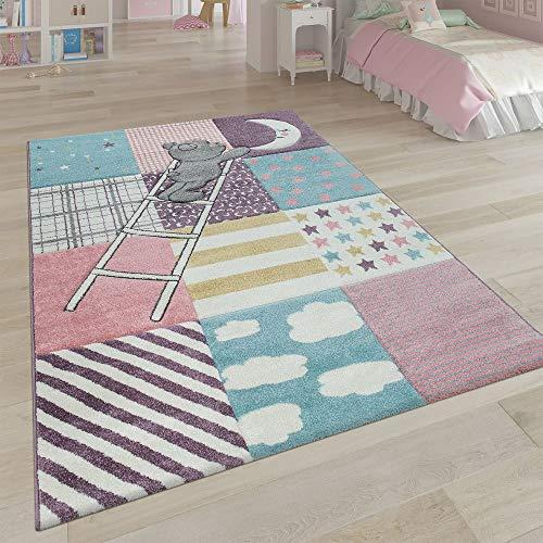Kinderteppich Kinderzimmer Rosa Bunt Weich 3-D Patchwork Muster Bär Mond Sterne, Grösse:120x170 cm - Home Trends Geometrischen Teppich