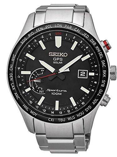 Seiko Herren Analog Solar Uhr mit Edelstahl Armband SSF003J1 - Analog Gps