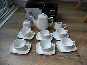 Savoy Catering 15 Piece Square Tea set China Ceramic Cream White Porcelain Combi-Set with 6-Piece Cups 6-Piece Saucers 1-Piece Teapot/Coffee Pot 1-Piece Sugar Bowl 1-Piece Milk Jug