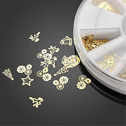 Nail Art 3D Slice Golden Christmas Sticker Design Decoration Wheel by AHAOMG
