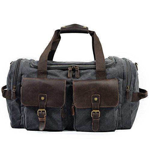 DCRYWRX Herren Wochenende Tasche, Extra Große Leinwand Reisetasche Tote Bag Trunk Schultertasche, Tragetasche Tragen,Gray