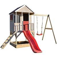 Wendi Toys Casa de Juegos Infantil de Madera en platafteorma con Columpios para Exteriores | Cabaña de la Aventura del Verano del tamaño