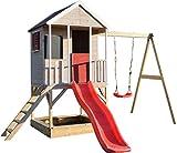 Wendi Toys Kinder Spiel Haus auf Plattform mit Schaukeln | Holz Garten Spielhaus öffnen Typ mit Rutsche, Schaukel, Leiter, Balkon, Spielzeugregal, Fensterläden, Tafel, Sandkasten