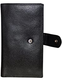 Style98 Pure Leather Black Men' Long Travel Wallet with Card Holder & Coin Pocket