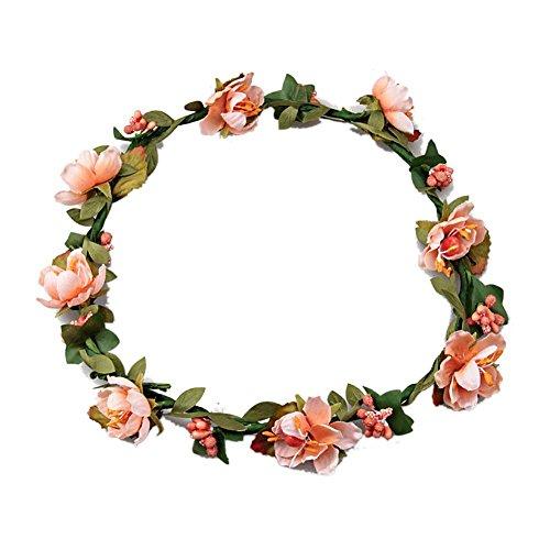 Damen Mädchen Boho Blume Stirnbänder, Tukistore Braut Haar Kranz Halo Blumengirlande Krone Kopfschmuck für Festival Hochzeit (Halos Orangen)