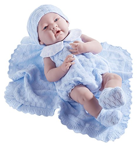 JC Toys La Newborn in a Blue Knit Blanket Gift Set. Realistic 15 Anatomically Correct Real Boy Baby Doll - All Vinyl Designed by Berenguer Boutique - Made in Spain by JC Toys