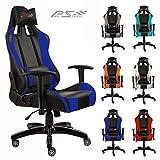 Pro Racing Bürostuhl F1x, Gaming Stuhl, Chefsessel mit Armlehnen, Gaslift SGS geprüft, Wippfunktion, 6 Farbvarianten (blau)