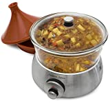 Andrew James Premium Glass Slow Cooker 6.5 Litre Silver Including A Tagine Attachment