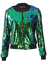 WOMENS LADIES EVENING PARTY BLINGY TWO TONE SEQUIN BOMBER JACKET