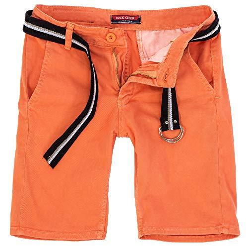 Rock Creek Herren Chino Shorts Hose Kurz Chinoshorts Inkl Gürtel Männer Sommer Bermuda Stretch Rc-2133 36 Coral