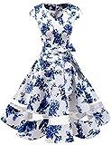 Gardenwed Annata 1950 retrò Rockabilly Polka Vestito da Audery Swing Abito da Cocktail Partito con Maniche Corte Blue Flower S