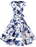Gardenwed Damen Vintage 50er Cap Sleeves Retro Cocktailkleid Rockabilly Petticoat Faltenrock Hepburn Stil Abendkleid Blue Flower S
