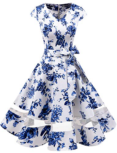 Gardenwed 1950er Vintage Retro Cocktailkleid Cap Sleeves Rockabilly Kleider Damen Schwingen Petticoat Faltenrock Blue Flower S