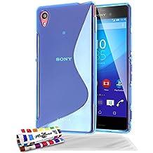 Muzzano Le S - Funda para Sony Xperia M4 Aqua (con protector de pantalla y paño de limpieza), color azul