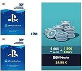 PSN Guthaben für Fortnite - 6.000 V-Bucks + 1.500 extra V-Bucks - 7.500 V-Bucks DLC | PS4 Download Code - österreichisches Konto
