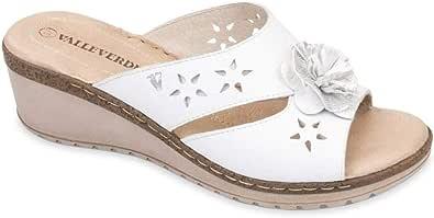 VALLEVERDE 16082 Sandalo Scarpe Zeppa Donna Bianco Pelle