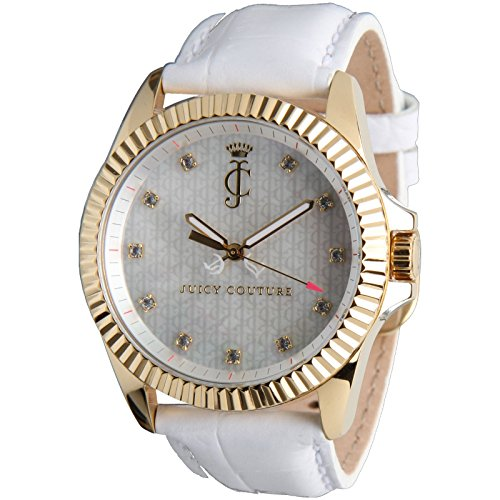 Juicy Couture Women's 40mm White Leather Band Gold Tone Steel Case Quartz MOP Dial Analog Watch 1900930
