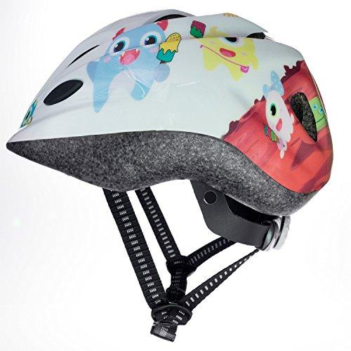 Skullcap Kinder-Fahrradhelm  Zuckersüßer Schutz  weiß mit süßen Nasch-Monstern, Größe S (48 - 52 cm)
